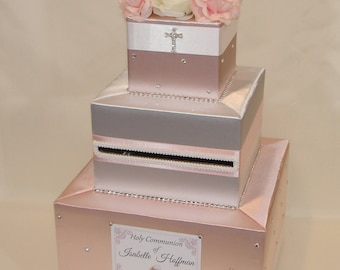 Holy Communion/ Baptism/ Christening Card Box  -Blush Pink and White