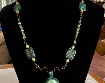 Verde Antique Cabochon with Green Jasper Necklace