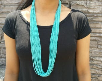 Turquoise Long Strands Necklace, Traditional Nepali Style Mala, Handmade in Nepal