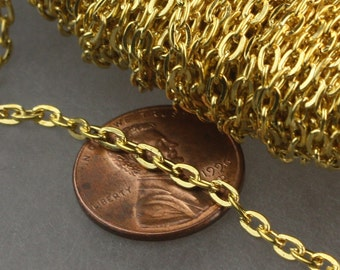 50ft of Gold Plated Flat cable chain 3.7x2.7mm - Unsoldered Links