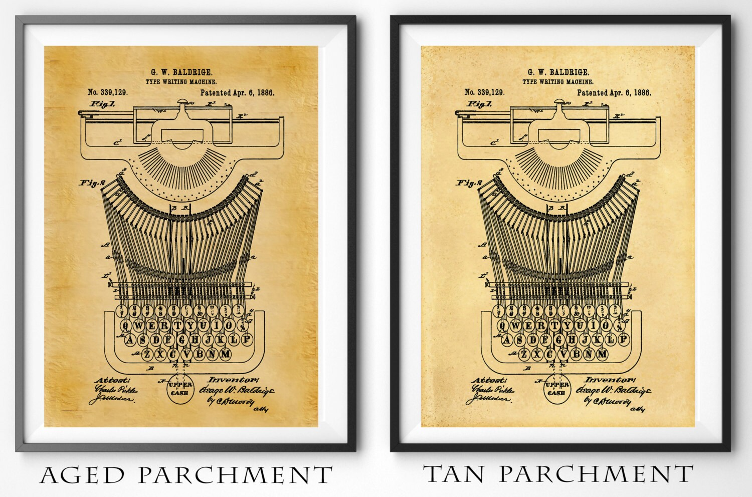 Patent 1886 Typewriter Patent Art Print - Poster - Home or Office ...