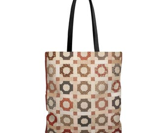 Printed Quilt Tote Bag  Scrappy Patchwork