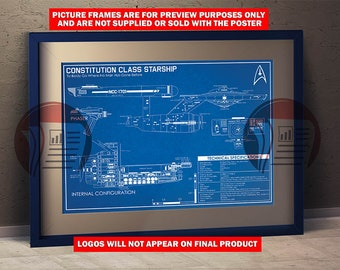 Star Trek Enterprise -  Blueprint Schematic A3 Poster Size