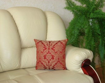"""Luxury -Tapestry - Handmade - Red - Cream - Brown - Throw pillow  - Cushion - Cover - 40 cm x 40 cm (16"""" x 16"""")"""