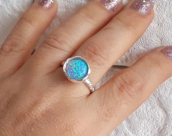 Opal silver ring, Opal ring, Statement ring, Gift for her, Boho chic ring, Gemstone ring, Sterling silver ring, Rustic ring, Gift for mom
