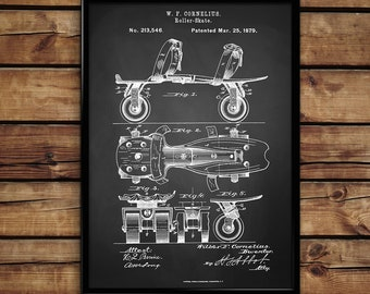 Roller Scate patent print Roller Skate print design print wall art home decor