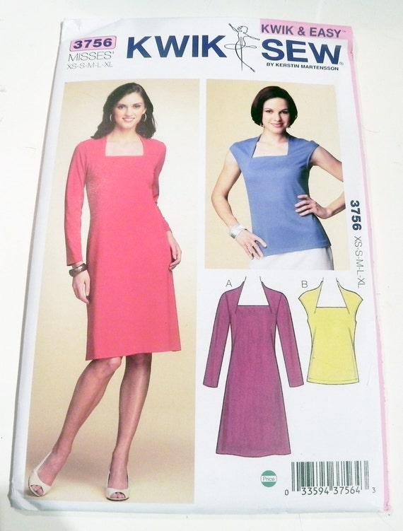 Knit Dress Top Square Neck Cap Sleeves Sewing Pattern Kwik Sew 3756