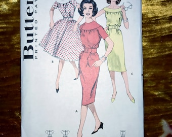"Vintage 1954 Butterick Pattern 9333, Misses Dress , Size 10, Bust 31"", Waist 24"", Hip 33"""
