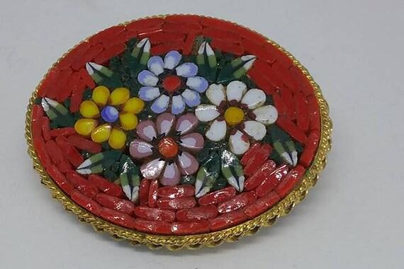 Italian Mosaic Brooch, Vintage Micro Mosaic Pin, Vintage Glass Mosaic Brooch, Vintage Italian Mosaic Pin, Micro Mosaic Italian Brooch