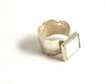 """""""Mirror"""" reticulated sterling silver ring"""