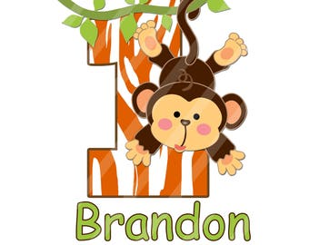 Jungle Monkey Birthday Number Printable Digital Download Image for iron-ons, heat transfer, DIY YOU PRINT
