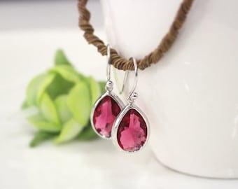 ruby earring, purple earring, dangle earring, drop earring