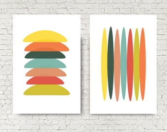 Large abstract art print poster set of 2 big art posters - 24x36 poster sized printable colorful shapes digital download mid-century modern
