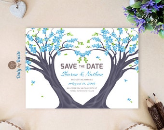 Tree Save the Date cards printed | Forest woodland wedding save the dates | Blue save the date cards | Personalized save the date card cheap