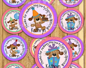 Puppy Birthday stickers Party favor tag Thank you tag Gift tag Birthday tag Cupcake toppers girl Dog tags Birthday Personalized PRECUTParty
