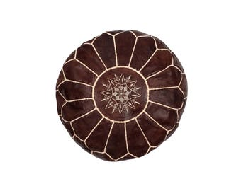 Marrakesh Leather Moroccan Pouffe – Chocolate