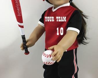 18 Inch Doll, Doll Baseball, Doll Softball Uniform Custom Designed FITS American Girl Dolls and My Life Dolls