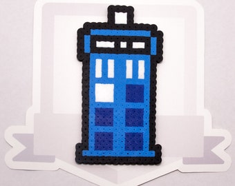 Tardis Perler Bead Sprite || Dr. Who || Gaming, Accessory, Wearable, Gift, Magnet, Necklace