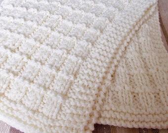 Ivory Hand Knit Baby Blanket Gender Neutral Shower Gift Reversible Texture Afghan Toddler Throw Grandma Lap Robe Adult Lapghan Warm Cover