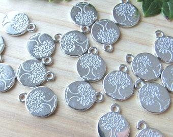 Tiny Silver tree charms, set of 10, Tree of life pendants, Tree of life charms, tree pendant, silver tree of life, carved tree pendant