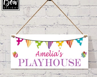 Personalised pink girls playhouse den sign plaque, bunting birds