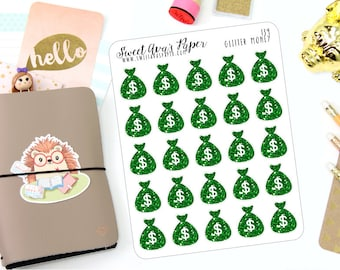 Green Glitter Pay Day Stickers - Fits Erin Condren, The Happy Planner, InkWELL Press, etc - Money Stickers - Money Bag Stickers - 139