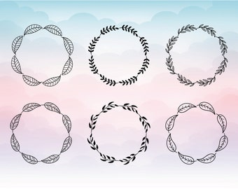Hand Drawn Floral Wreath svg - Floral Wreath Monogram Frames svg, eps, png, dxf - Laurel Wreath SVG - Greek Wreath - Floral Wreaths Clipart