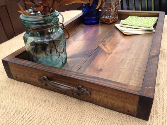 Wooden Tray Rustic Wooden Tray Wooden Ottoman Tray Ottoman