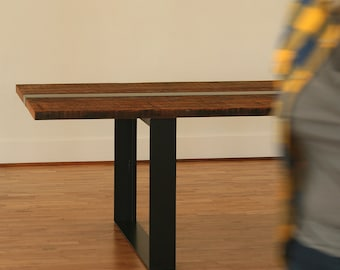 fox island dining table, from reclaimed wood and recycled content steel - modern industrial, modern rustic