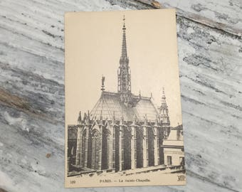 Vintage Paris Postcard . Paris, La Sainte Chapelle . French Vintage Postcard . Topographic Postcard France. Travel Postcards .