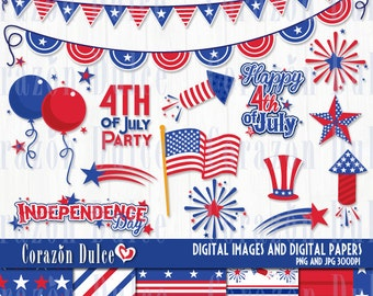4th of July/ Independence Day - Personal and Commercial Use Clip Art= INSTANT DOWNLOAD