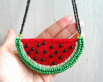Embroidered watermelon necklace, bead embroidery necklace, fruit necklace, bib necklace, watermelon gifts, food necklace, watermelon slice