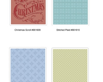 Tim Holtz Sizzix Texture Fades Embossing Folder - Christmas Scroll, Stitched Plaid, Star Bright, Tiny Dots ***Free Shipping***