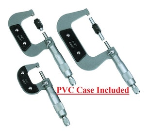New Micrometer Set hand tools with case precise measurements SAE hardened carbide anvil