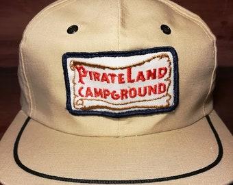 Vintage Pirate land campground snapback hat