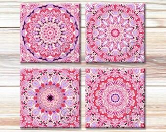 4x4 Mandala Art Images, Printable Traditional Patterns, Pink Motifs, Instant Download for paper crafts, digital coaster images, New Age Art