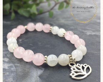 Conception & Pregnancy Bracelet Fertility Bracelet Moonstone Rose Quartz Bacelet Jewelry Jewellery Smooth Birth Bracelet Baby Shower Gift