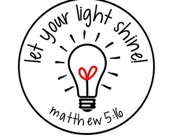 Shop Exclusive - let your light shine Matthew 5:16 - bible verse & light bulb stickers