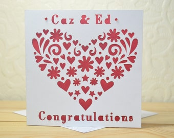 Congratulations 'Heart' Personalised Wedding Laser Cut Card