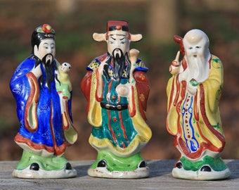 Vintage porcelain figurine Home decor Chinese porcelain statuette Hand painted porcelain Asian figurines Asian decor Three Star Gods