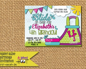 Pool Party, Water Slide Birthday Party Invitation (Personalized, DIY, 5X7 Printable)