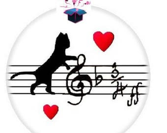 1 cabochon clear 25 mm cat themed music
