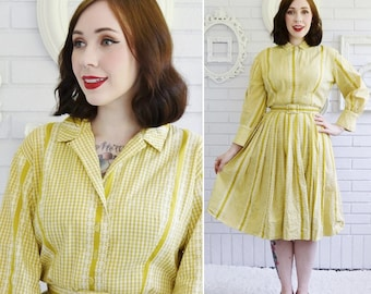 Vintage 1950s Mustard Yellow Cotton Dress in Gingham and Floral Print with Belt by Doris Fein Size XS