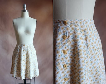 vintage 1990's yellow & green floral print button up mini skater skirt / size xs