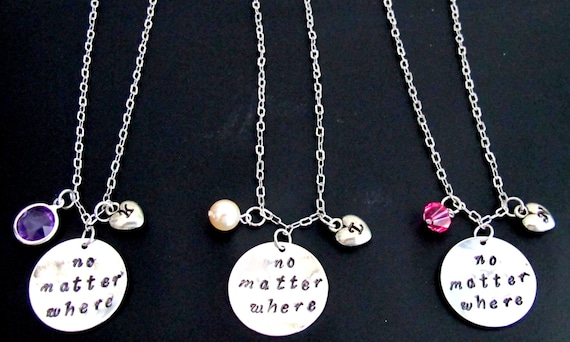 No matter where necklace initial necklace long distance personalized jewelry 3 best friends necklace, bff necklace Free Shipping In USA