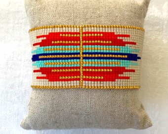 Cuff Bracelet in bright colors in weaving beads miyuki in ethnic style