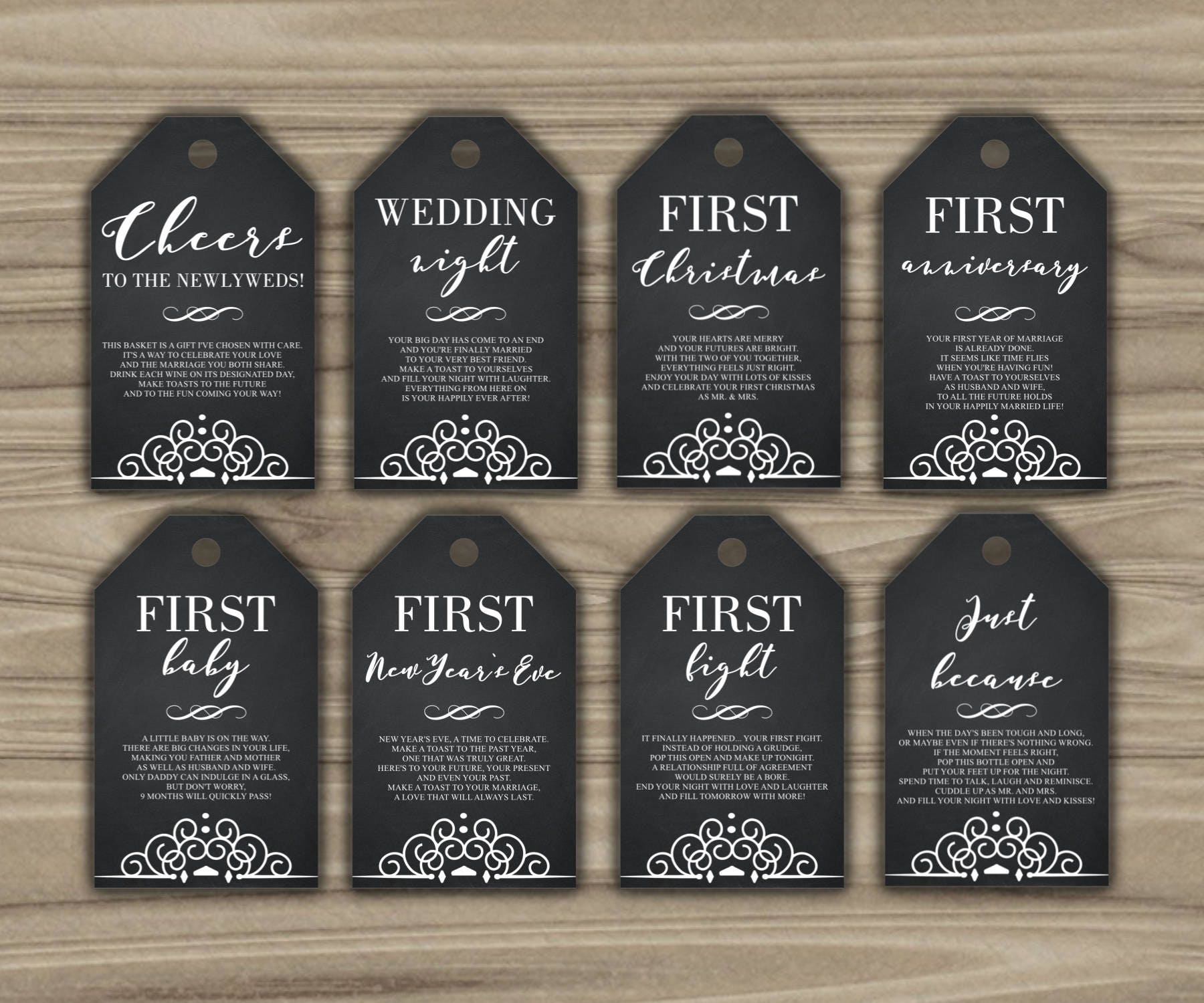 Wedding Milestone Wine Labels A Year Of Firsts Wine: Milestone Wine Tags Bridal Shower Gift Basket Tags First
