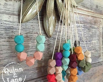 Silicone Teething Necklace CHOOSE Colour - Bite Beads Nursing Necklace Jewelry - Teether Chewing Beads - Chew Jewelry Beads - Bitty Bites