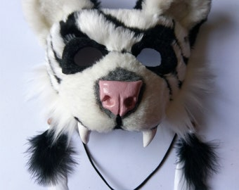 SOLD Spirit/Totem Animal Mask (White Tiger) (AVAILABLE made to order, see below for details)