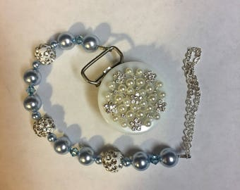Blue Pacifier clip with Swarovski crystals and beads